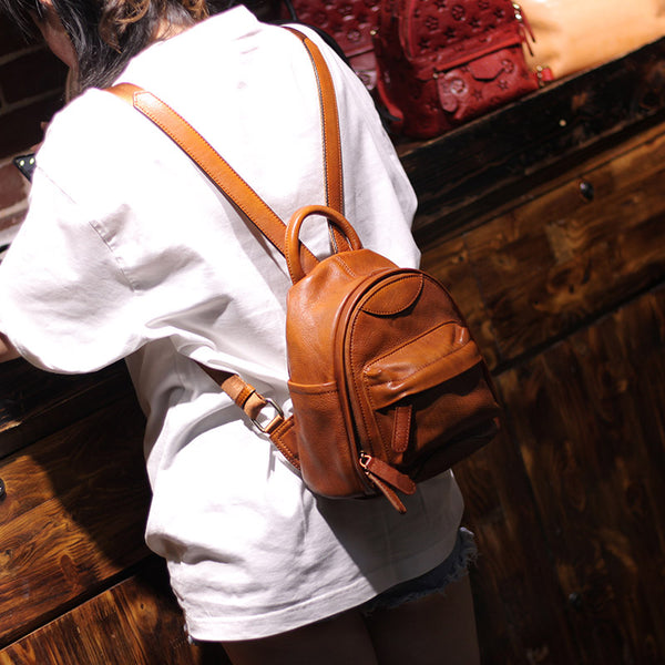Vintage Ladies Mini Brown Leather Backpack Purse Cute Leather Backpacks for Women beautiful