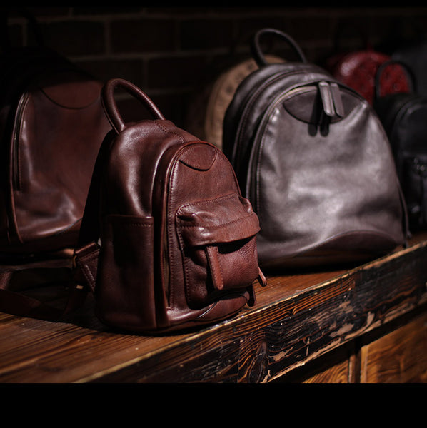 Vintage Ladies Mini Brown Leather Backpack Purse Cute Leather Backpacks for Women best