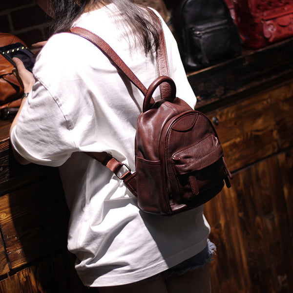 Vintage Ladies Mini Brown Leather Backpack Purse Cute Leather Backpacks for Women cool
