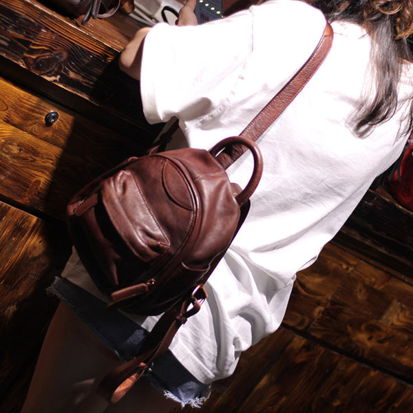 Vintage Ladies Mini Brown Leather Backpack Purse Cute Leather Backpacks for Women cowhide