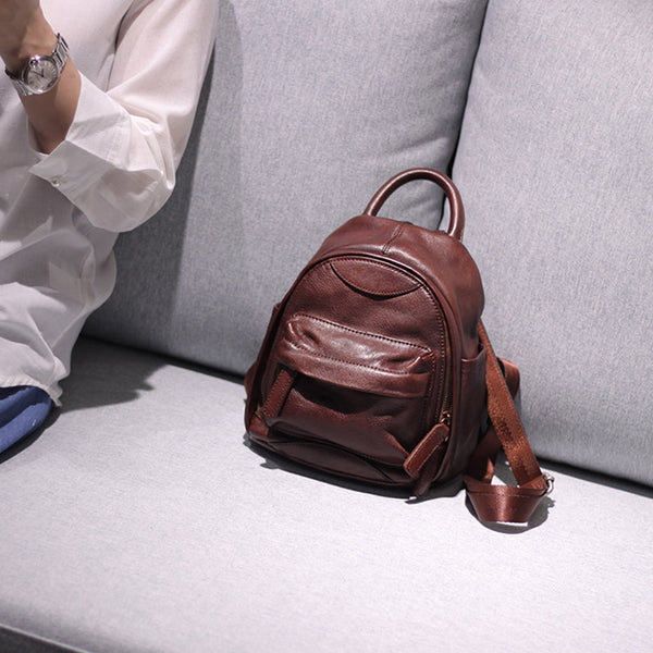 Vintage Ladies Mini Brown Leather Backpack Purse Cute Leather Backpacks for Women fashion