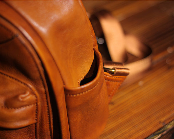 Vintage Ladies Mini Brown Leather Backpack Purse Cute Leather Backpacks for Women small