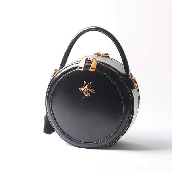 Vintage Ladies Round Leather Purse Small Shoulder Handbags For Women Accessories