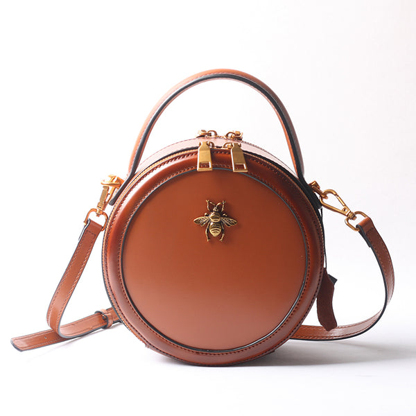 Vintage Ladies Round Leather Purse Small Shoulder Handbags For Women Beautiful