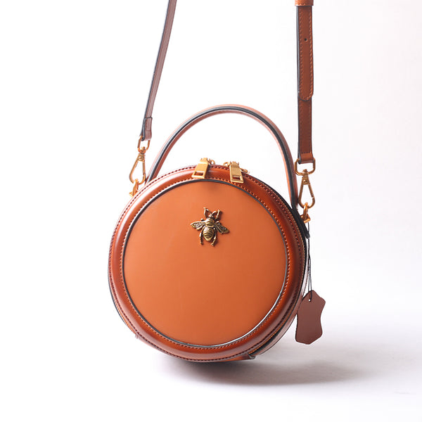 Vintage Ladies Round Leather Purse Small Shoulder Handbags For Women Best