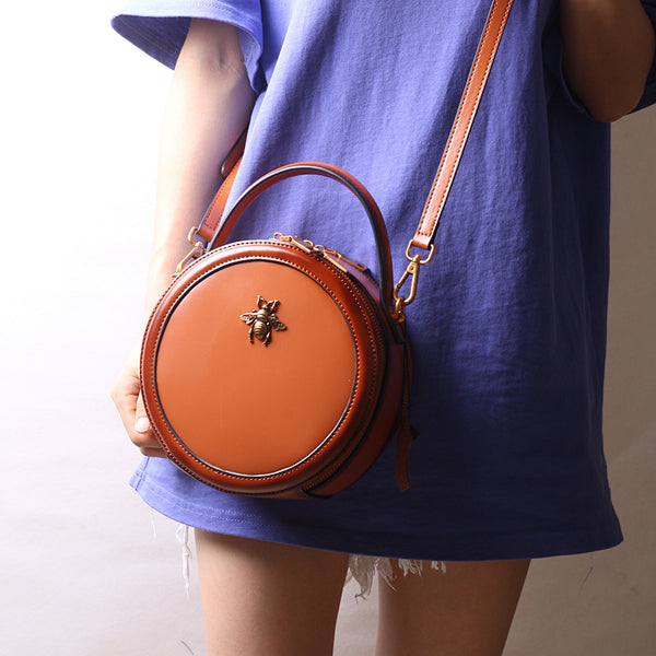 Vintage Ladies Round Leather Purse Small Shoulder Handbags For Women Boutique