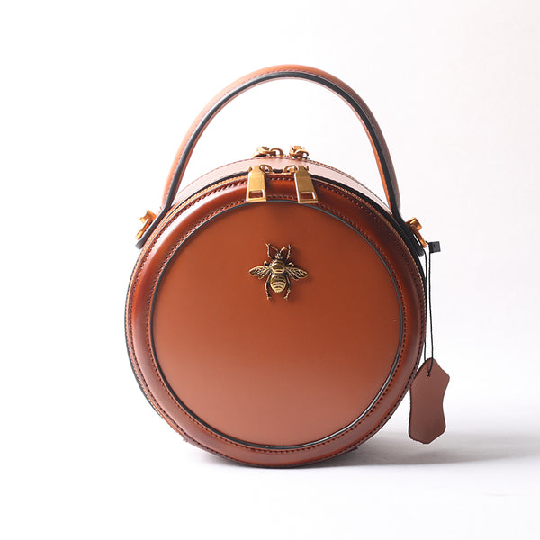 Vintage Ladies Round Leather Purse Small Shoulder Handbags For Women Chic