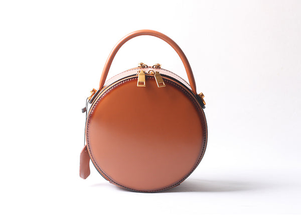 Vintage Ladies Round Leather Purse Small Shoulder Handbags For Women Cowhide