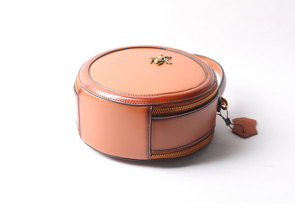 Vintage Ladies Round Leather Purse Small Shoulder Handbags For Women Designer