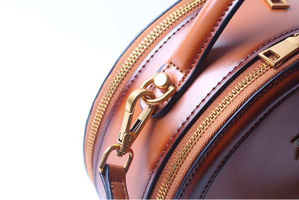 Vintage Ladies Round Leather Purse Small Shoulder Handbags For Women Details