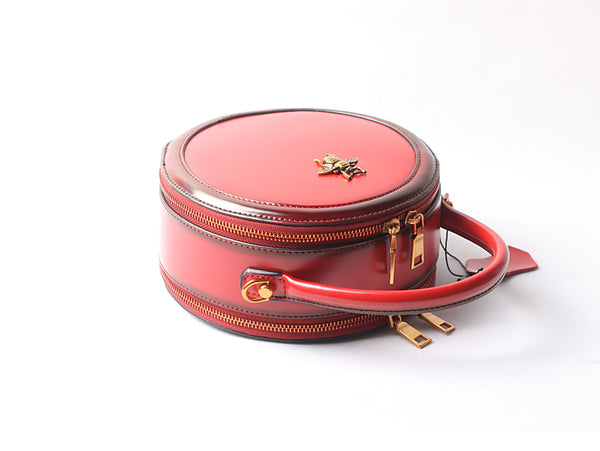 Vintage Ladies Round Leather Purse Small Shoulder Handbags For Women Fashion
