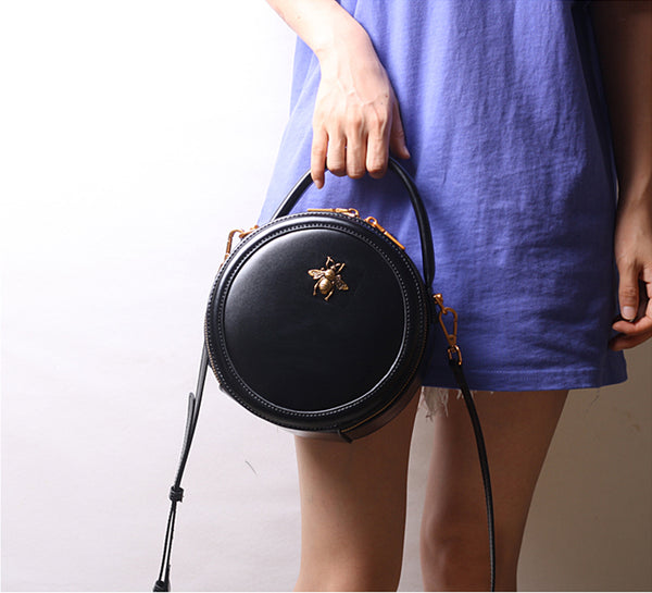 Vintage Ladies Round Leather Purse Small Shoulder Handbags For Women Funky