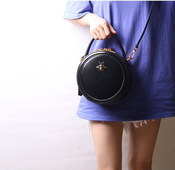 Vintage Ladies Round Leather Purse Small Shoulder Handbags For Women Genuine Leather