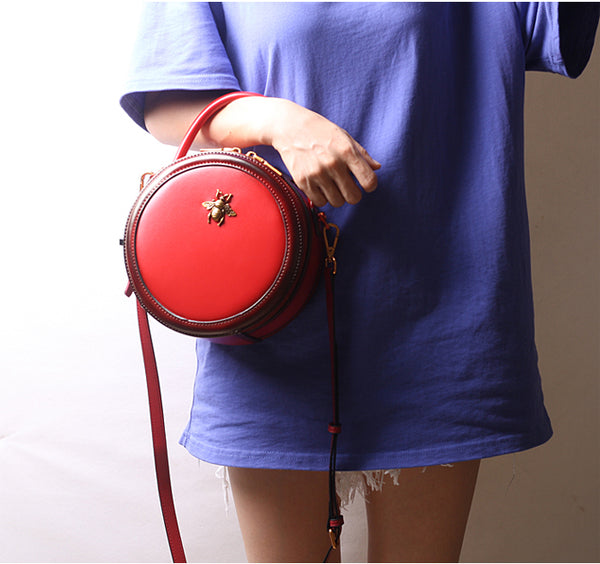 Vintage Ladies Round Leather Purse Small Shoulder Handbags For Women Original