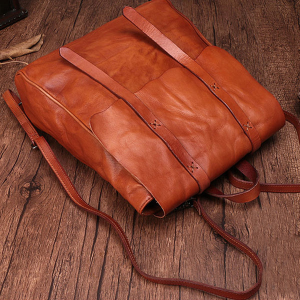 Vintage Ladies Square Leather Backpack Bag Purse Brown Cool Backpacks For Women Genuine Leather