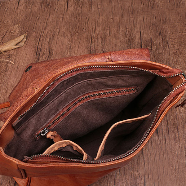Vintage Ladies Square Leather Backpack Bag Purse Brown Cool Backpacks For Women Inside