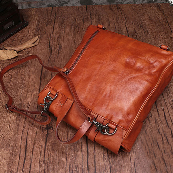 Vintage Ladies Square Leather Backpack Bag Purse Brown Cool Backpacks For Women Minimalist
