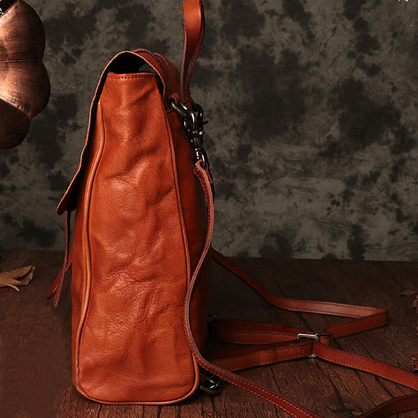 Vintage Ladies Square Leather Backpack Bag Purse Brown Cool Backpacks For Women Original