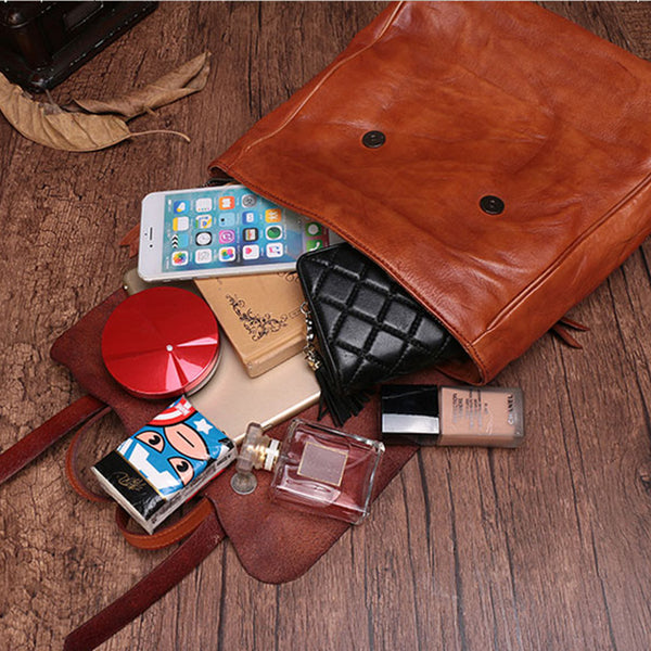 Vintage Ladies Square Leather Backpack Bag Purse Brown Cool Backpacks For Women quality