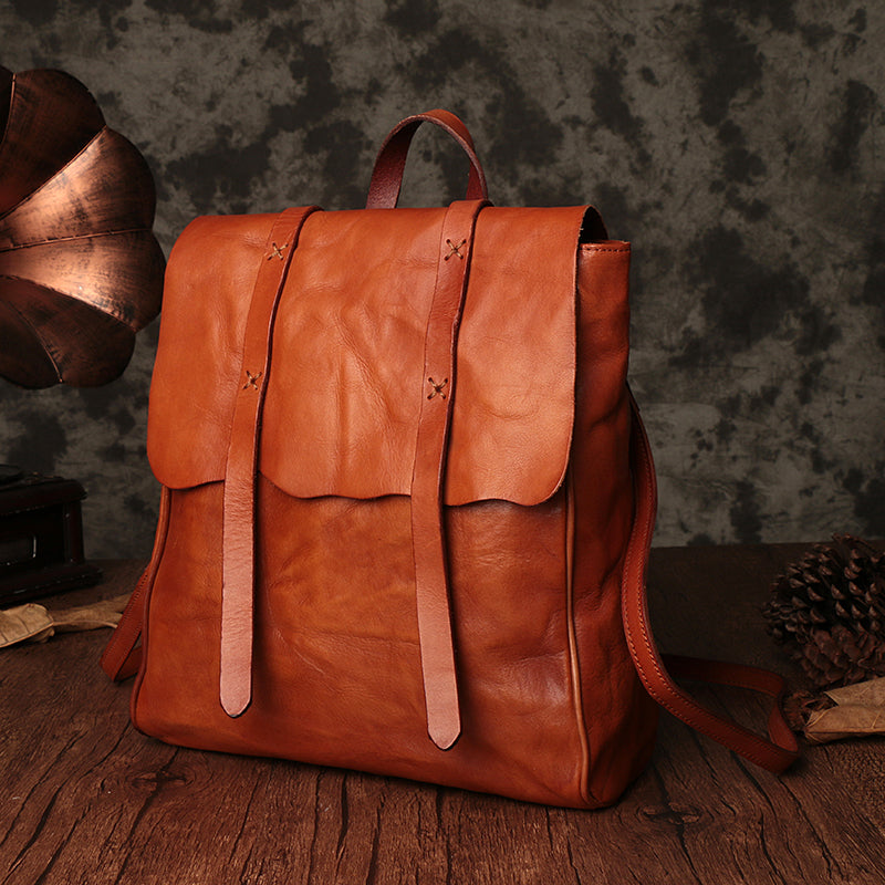 Vintage Ladies Square Leather Backpack Bag Purse Brown Cool Backpacks
