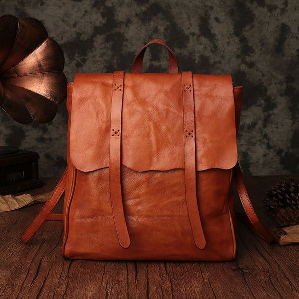 Vintage Ladies Brown Leather Backpack Purse Convertible Shoulder Bag For Women