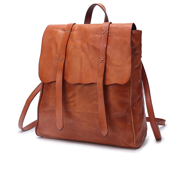 Vintage Ladies Square Leather Backpack Bag