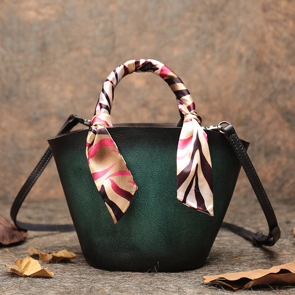 Vintage Leather Bucket Bag Designer Crossbody Bags Purse for Women Accessories