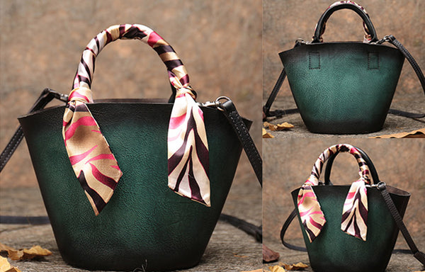 Vintage Leather Bucket Bag Designer Crossbody Bags Purse for Women Genuine Leather
