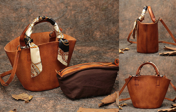 Vintage Leather Bucket Bag Designer Crossbody Bags Purse for Women Handmade