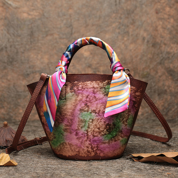 Vintage Leather Bucket Bag Designer Crossbody Bags Purse for Women beautiful