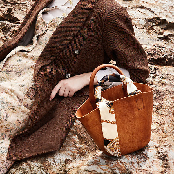 Vintage Leather Bucket Bag Designer Crossbody Bags Purse for Women cowhide