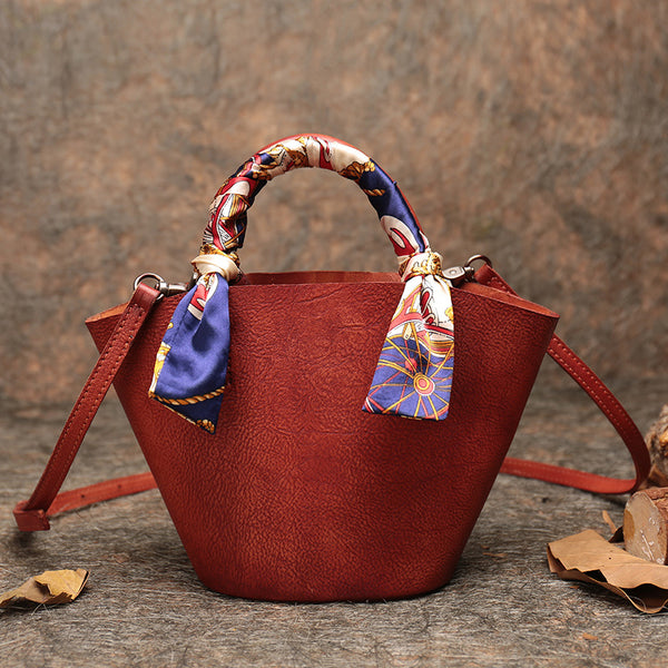 Vintage Leather Bucket Bag Designer Crossbody Bags Purse for Women