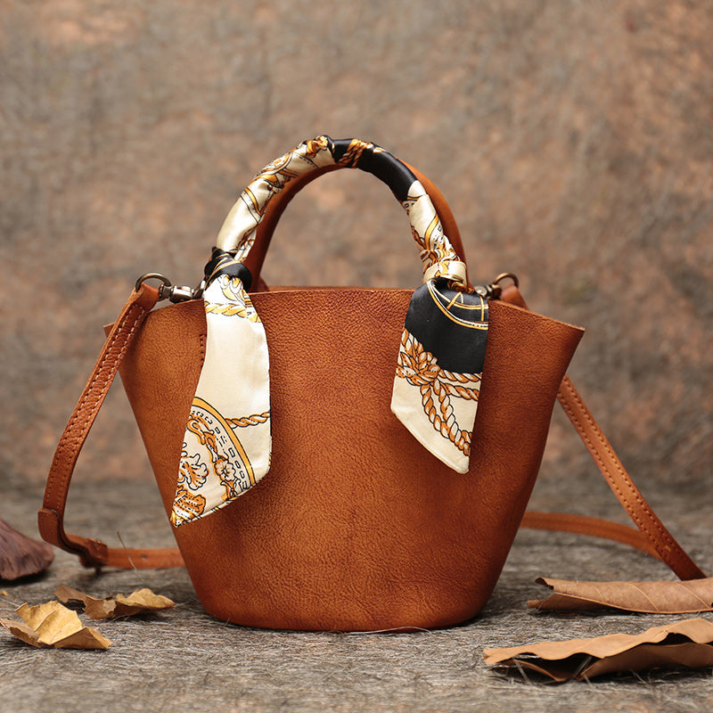 Vintage Leather Bucket Bag Designer Crossbody Bags