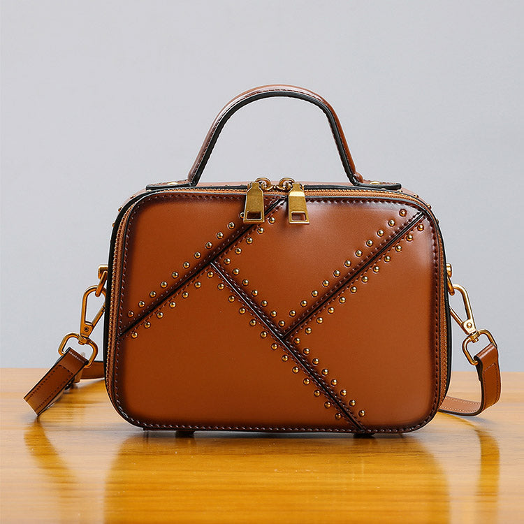 Vintage Leather Cube Bag Womens Crossbody Bags Shoulder Bag for Women Accessories