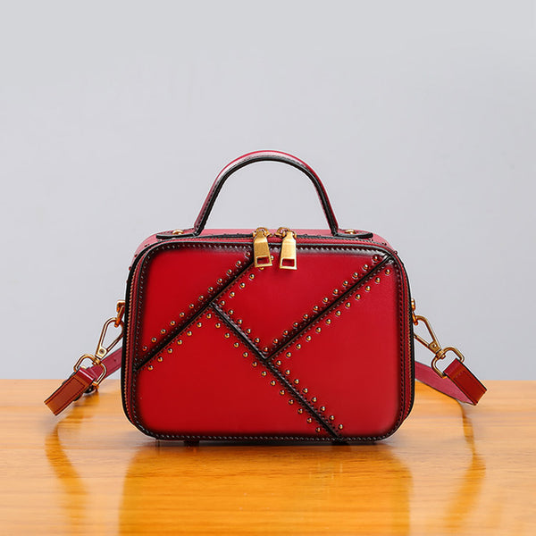 Vintage Leather Cube Bag Womens Crossbody Bags Shoulder Bag for Women Chic