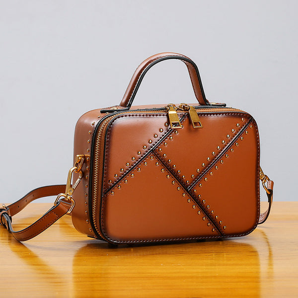 Vintage Leather Cube Bag Womens Crossbody Bags Shoulder Bag for Women beautiful