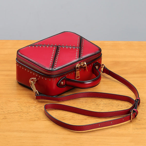 Vintage Leather Cube Bag Womens Crossbody Bags Shoulder Bag for Women cute