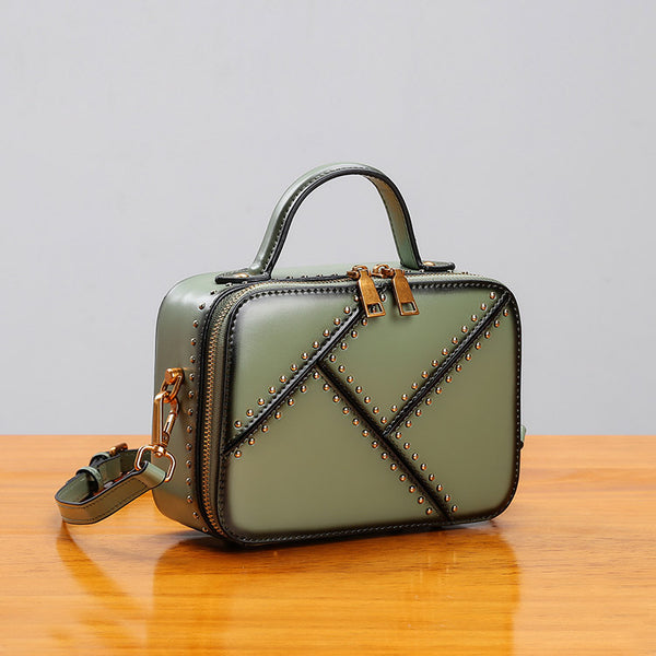 Vintage Leather Cube Bag Womens Crossbody Bags Shoulder Bag for Women fashion