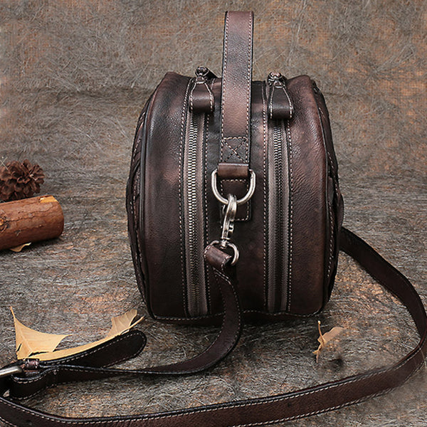 Vintage Leather Women Circle Bag Crossbody Bags Handbags Purses for Women Chic