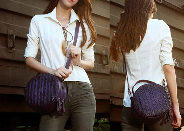 Vintage Leather Women Circle Bag Crossbody Bags Handbags Purses for Women Genuine Leather