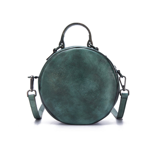 Vintage Leather Women Circle Bag Crossbody Bags Leather Handbags Boutique