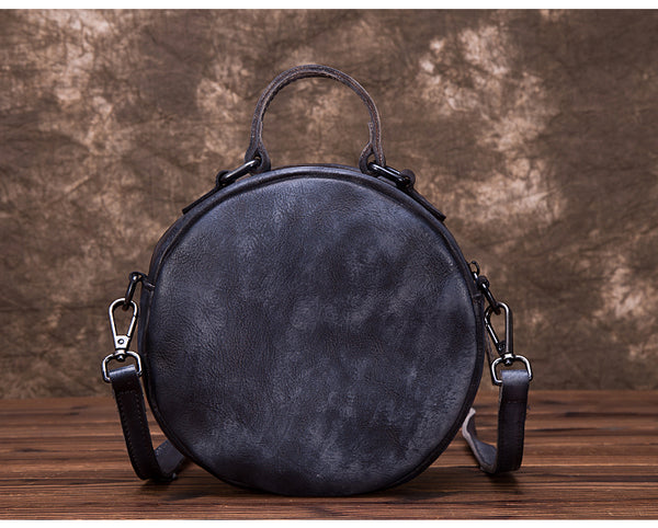 Vintage Leather Women Circle Bag Crossbody Bags Leather Handbags Genuine Leather