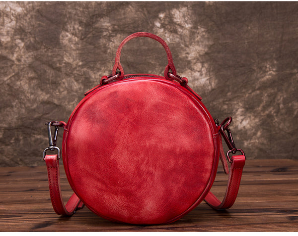 Vintage Leather Women Circle Bag Crossbody Bags Leather Handbags Handmade