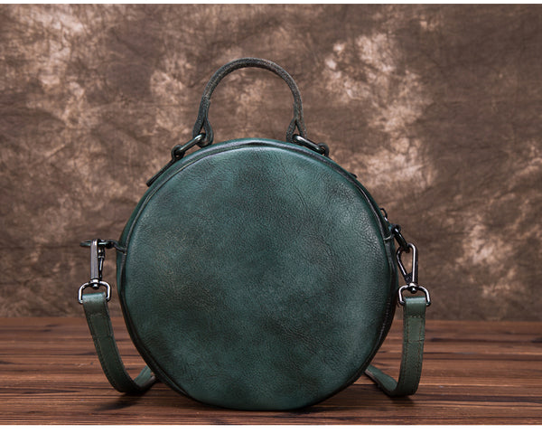 Vintage Leather Women Circle Bag Crossbody Bags Leather Handbags Unique