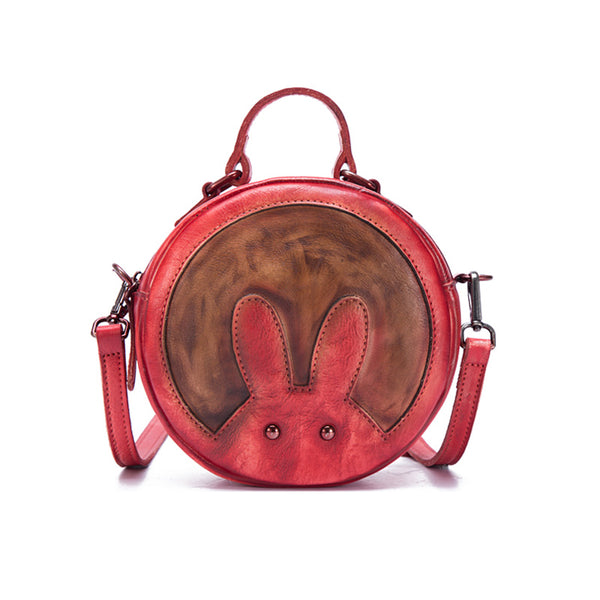 Vintage Leather Women Circle Bag Crossbody Bags Leather Handbags beautiful