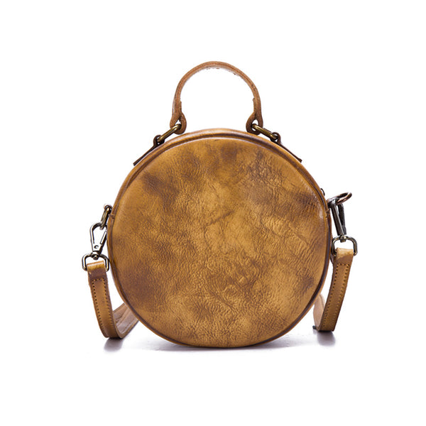 Vintage Leather Women Circle Bag Crossbody Bags Leather Handbags cool