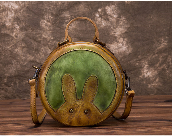 Vintage Leather Women Circle Bag Crossbody Bags Leather Handbags small