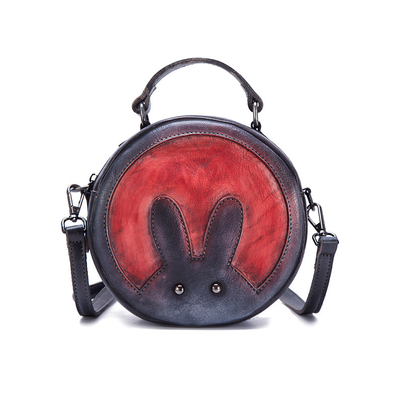 Vintage Leather Women Circle Bag Crossbody Bags Leather Handbags