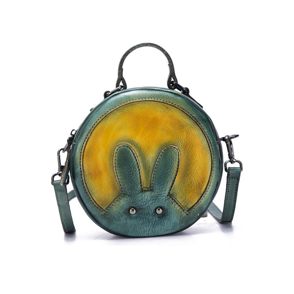 Vintage Leather Women Circle Bag Crossbody Bags green