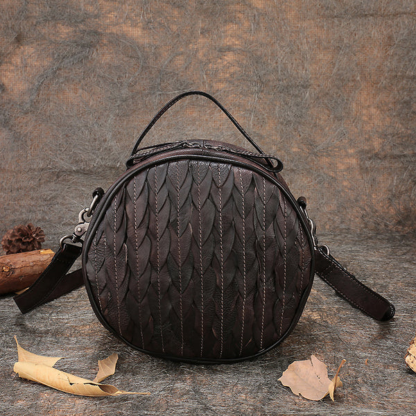 Vintage Leather Women Circle Bag Crossbody Bags